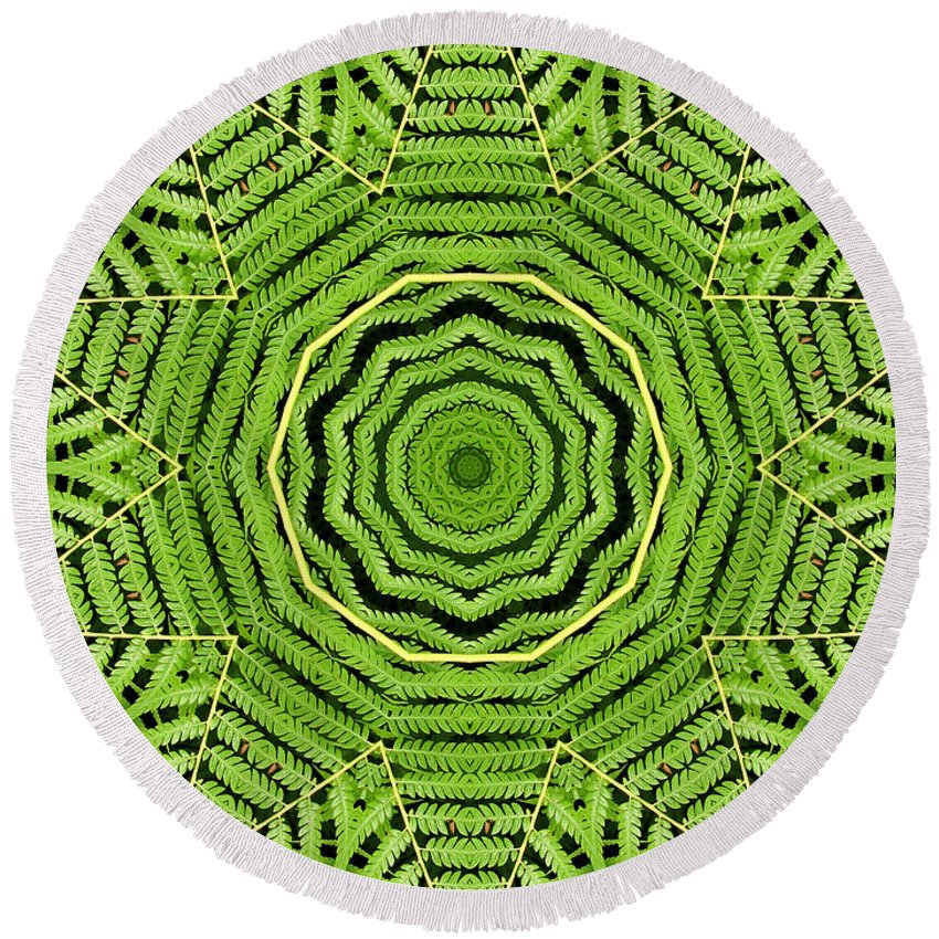 Palm Tree Round Beach Towel featuring the photograph Palm Tree Kaleidoscope Abstract by Rose Santuci-Sofranko