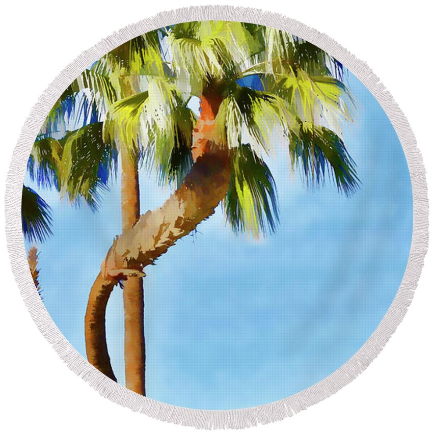 Linda Brody Round Beach Towel featuring the digital art Palm Tree Needs A Chiropractor Painterly I by Linda Brody
