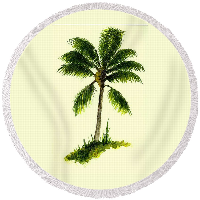 Tree Round Beach Towel featuring the painting Palm Tree Number 1 by Michael Vigliotti