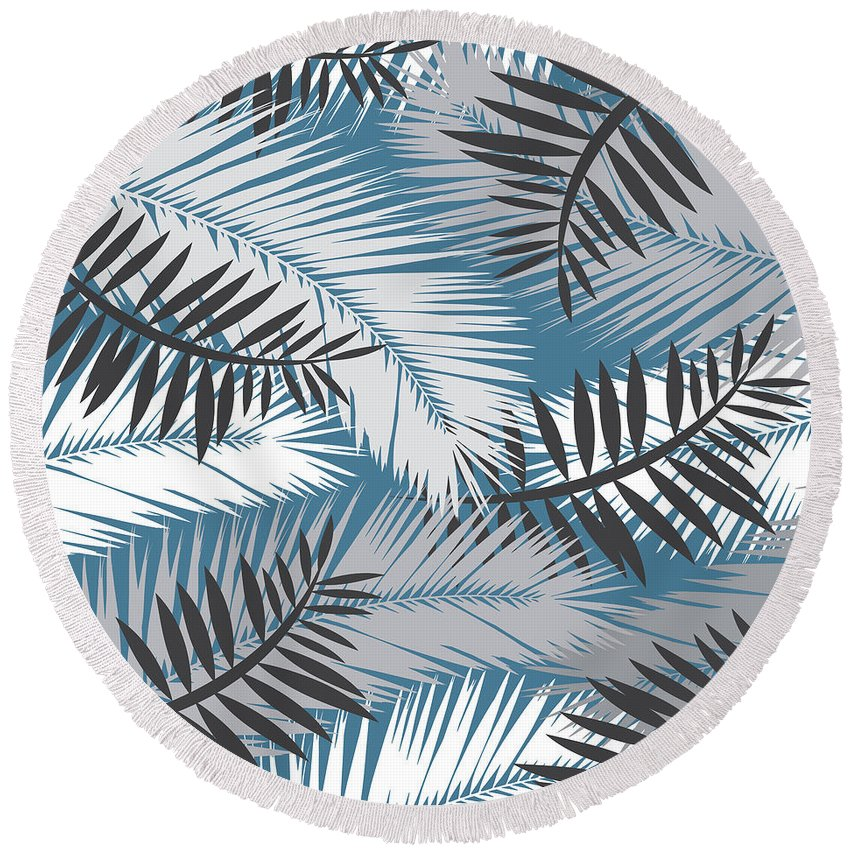Summer Round Beach Towel featuring the digital art Palm Trees 10 by Mark Ashkenazi