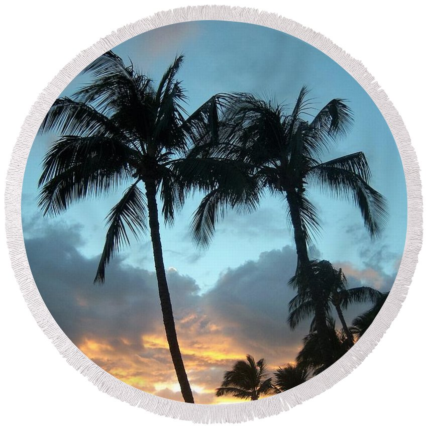 Trees Round Beach Towel featuring the photograph Palm Trees At Sunset by Charles HALL