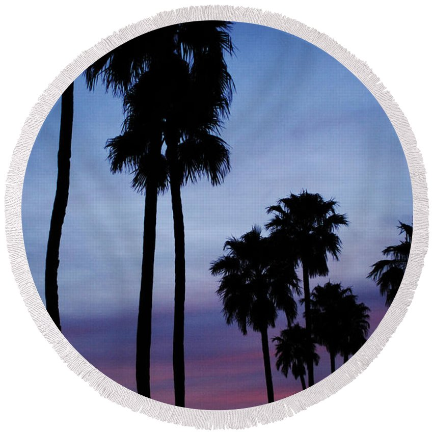 Palm Trees Round Beach Towel featuring the photograph Palm Trees At Sunset by Jill Reger