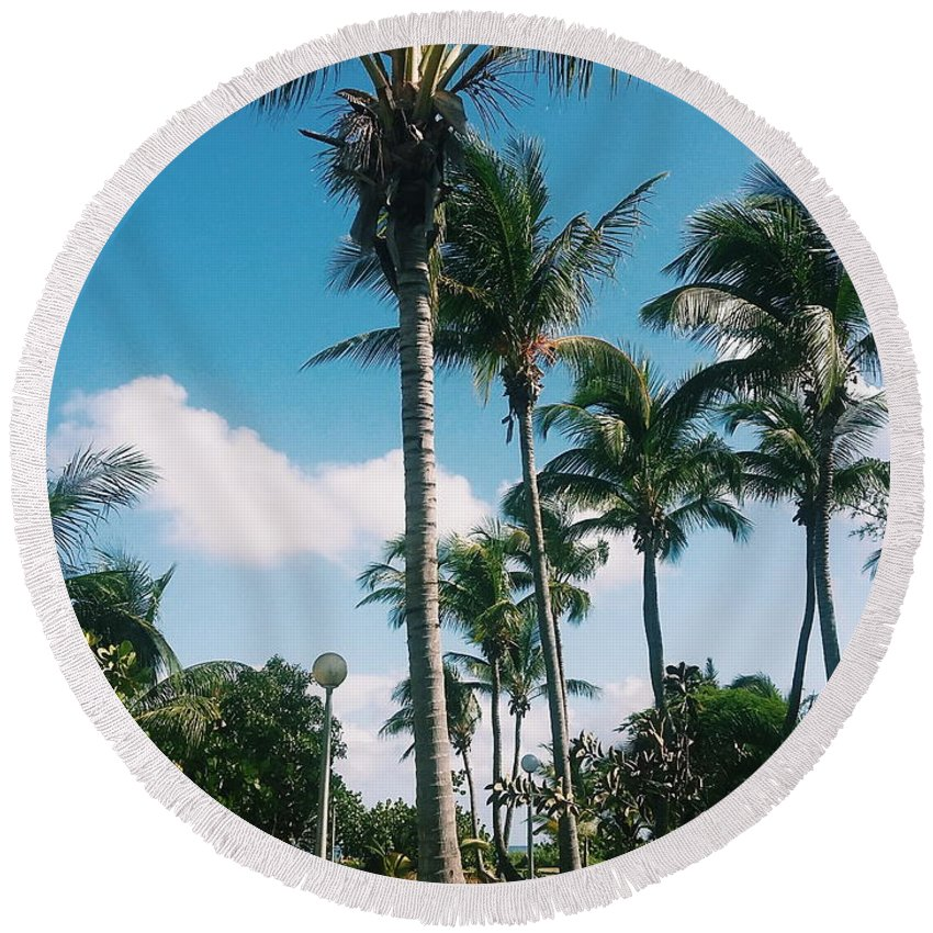 Palm Trees Round Beach Towel featuring the photograph Palm Trees by Eloviano Maya