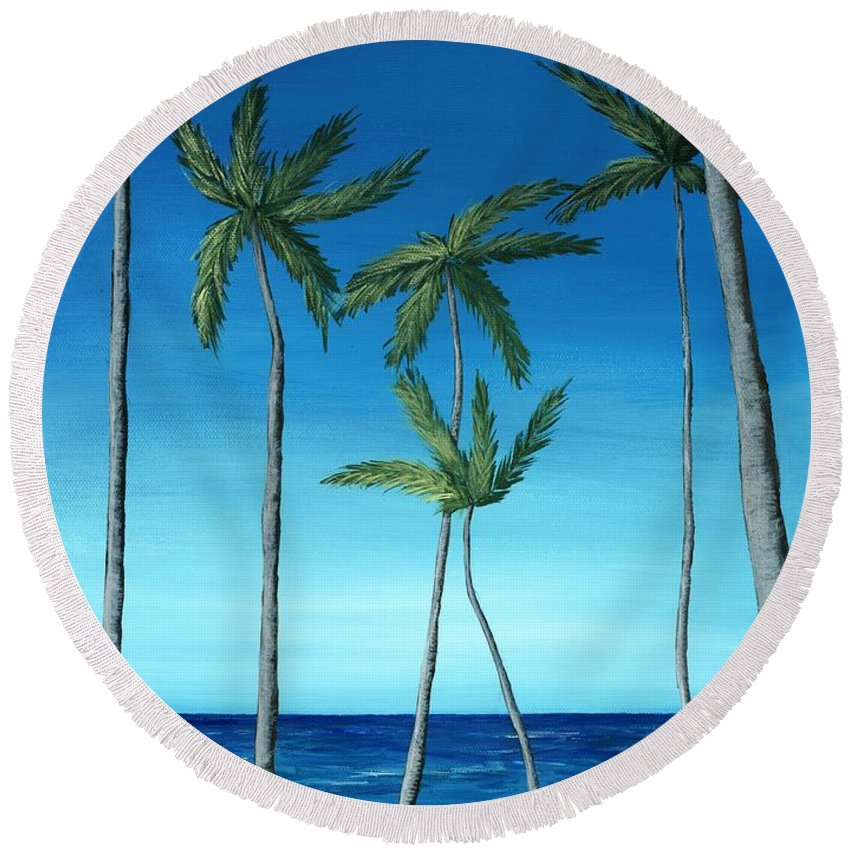 Palm Round Beach Towel featuring the painting Palm Trees On Blue by Anastasiya Malakhova