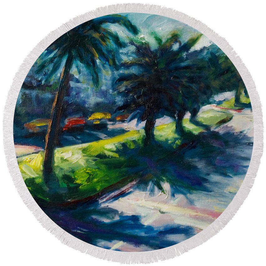 Cityscape Round Beach Towel featuring the painting Palm Trees by Rick Nederlof