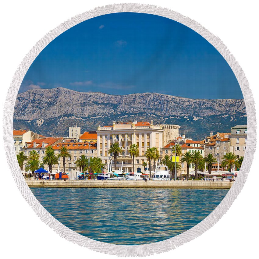 Split Round Beach Towel featuring the photograph Palm Waterfront Of Split City by Brch Photography