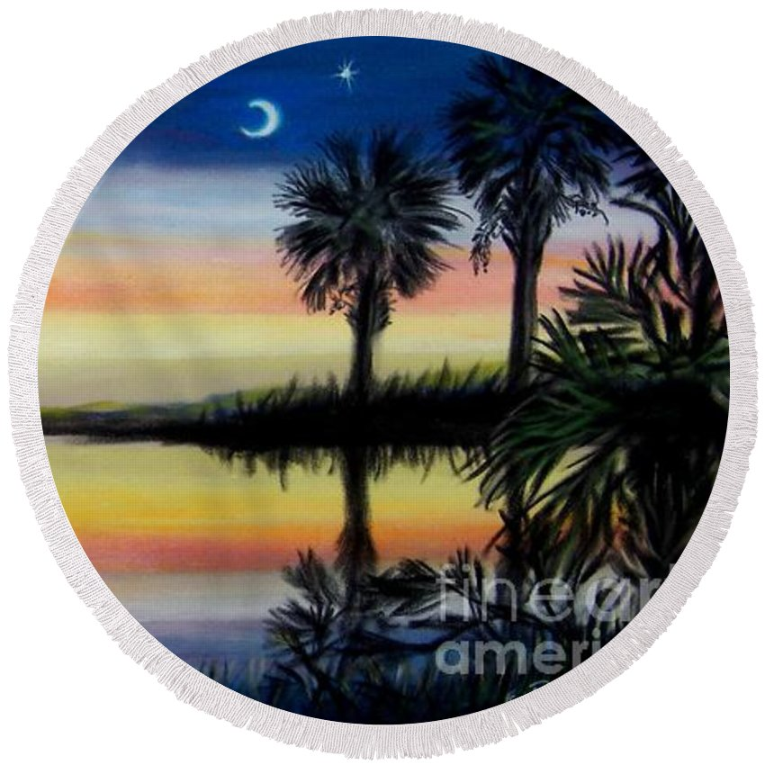 Palmetto Night Round Beach Towel featuring the painting Palmetto Tree And Moon Low Country Sunset by Patricia L Davidson
