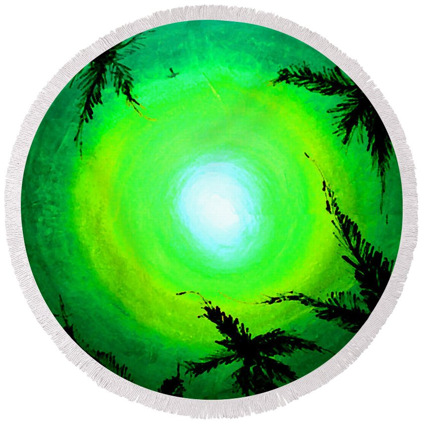 Acrylic Round Beach Towel featuring the painting Palms Alien by Marcello Cicchini