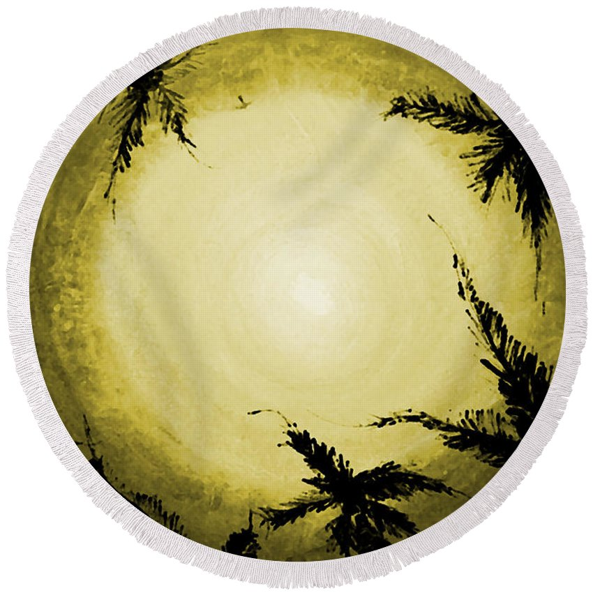 Acrylic Round Beach Towel featuring the painting Palms Old by Marcello Cicchini