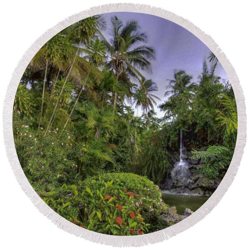 Tropics Round Beach Towel featuring the painting Palms Pool by Nadia Sanowar
