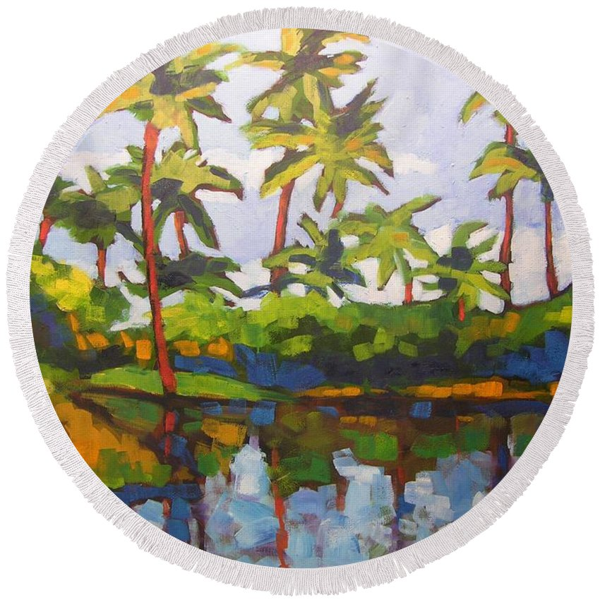 Hawaiian Round Beach Towel featuring the painting Palms Reflections by Mary McInnis