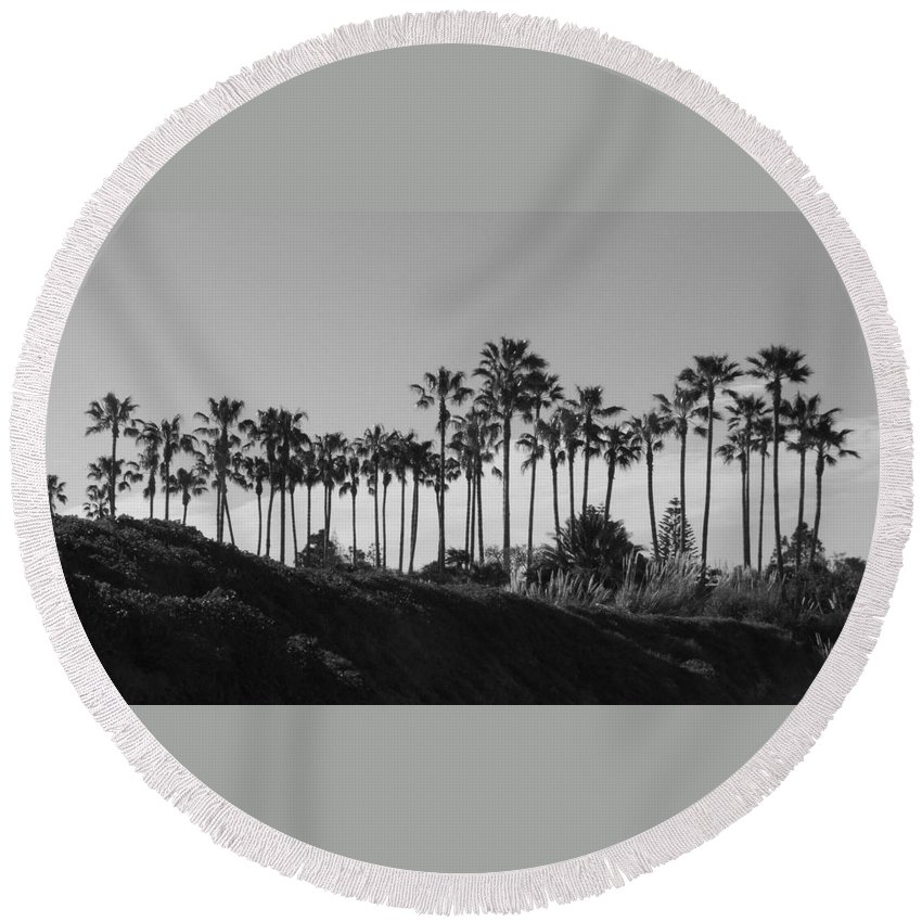 Landscapes Round Beach Towel featuring the photograph Palms by Shari Chavira