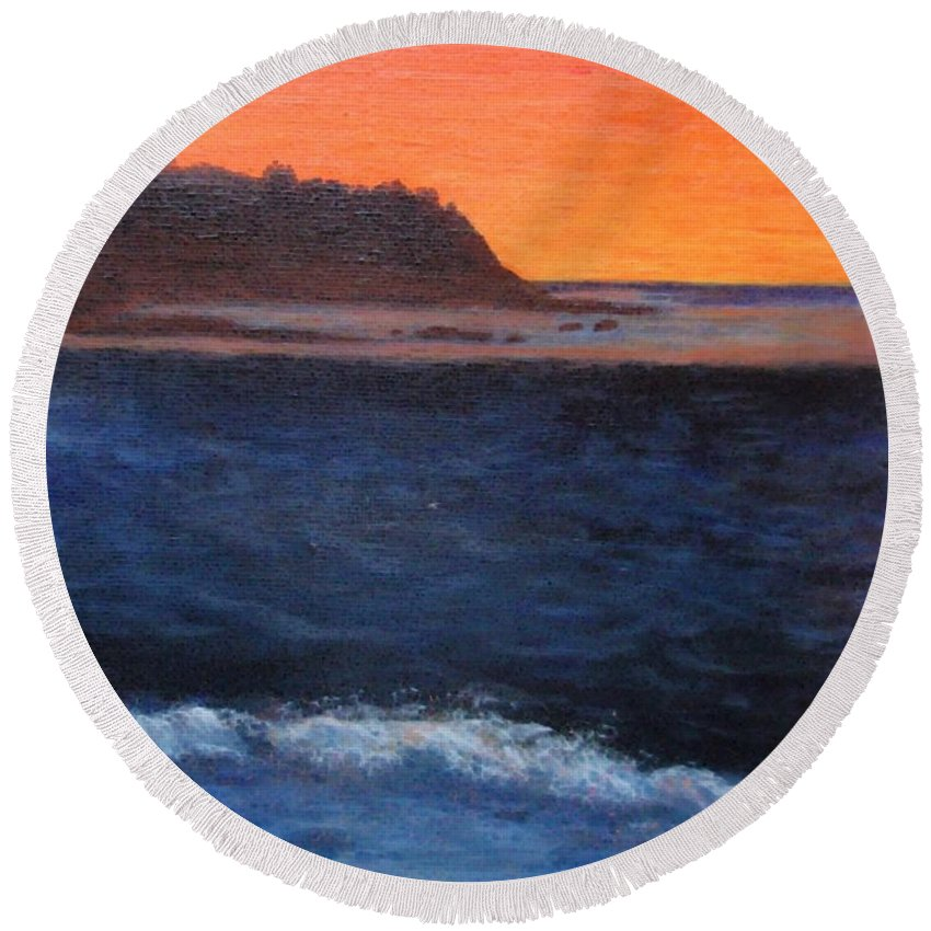Sunset Round Beach Towel featuring the painting Palos Verdes Sunset by Jamie Frier