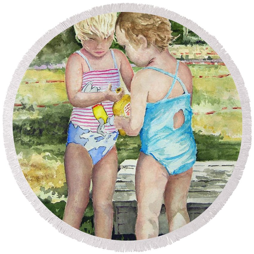 Children Round Beach Towel featuring the painting Pals Share by Sam Sidders
