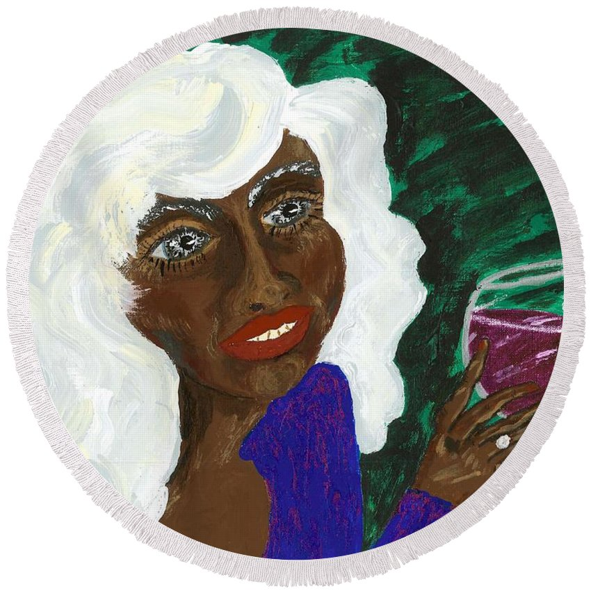 Acrylic Painting Round Beach Towel featuring the painting PAM by Stacey Torres