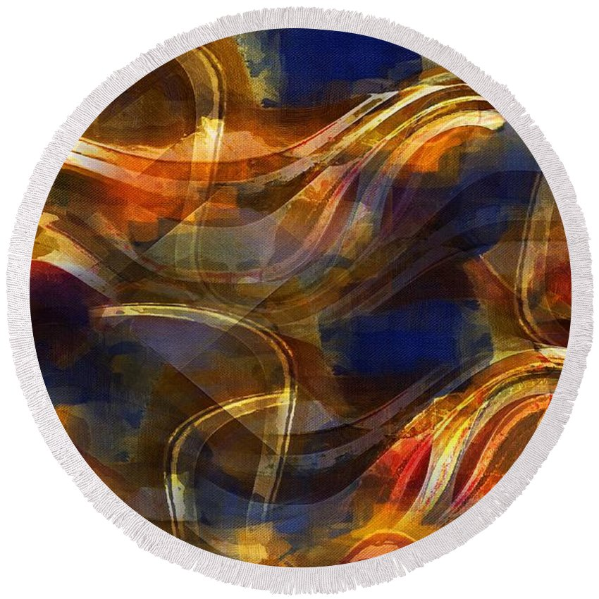 Abstract Round Beach Towel featuring the painting Pamplona by RC DeWinter