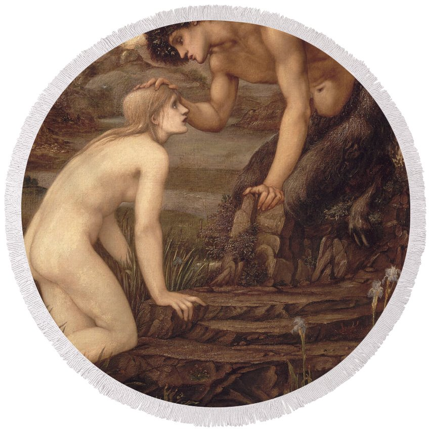 Pan And Psyche Round Beach Towel featuring the painting Pan And Psyche by Sir Edward Burne-Jones
