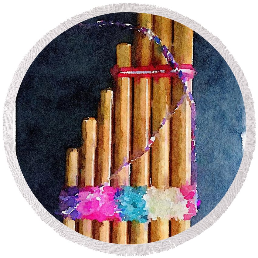 Waterlogue Round Beach Towel featuring the digital art Pan Flute by Shannon Grissom