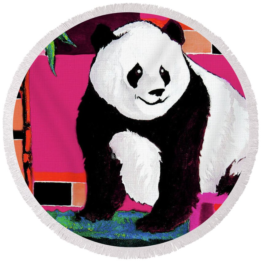 Panda Round Beach Towel featuring the painting Panda Abstrack Color Vision by Alban Dizdari