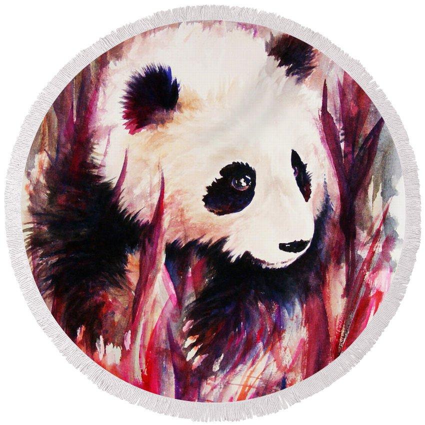 Panda Round Beach Towel featuring the painting Panda by Rachel Christine Nowicki