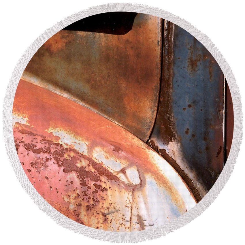 Abstract Round Beach Towel featuring the photograph Panel From Ole Bill by Steve Karol