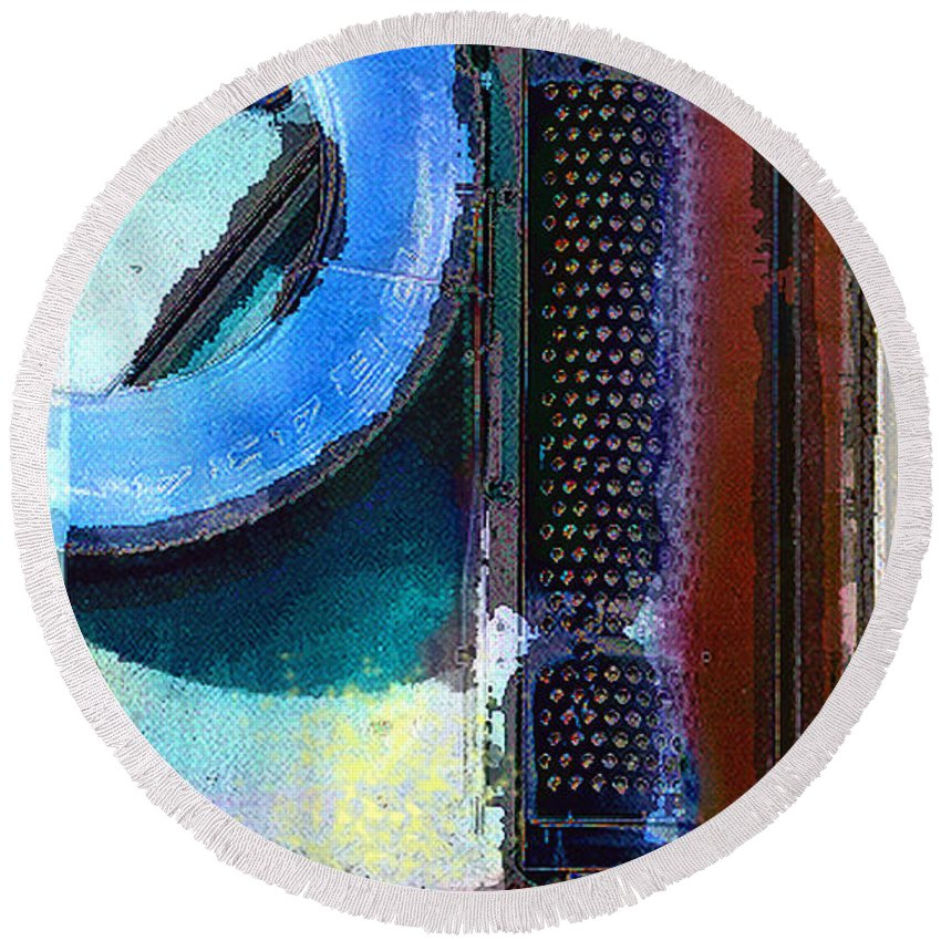 Abstract Round Beach Towel featuring the photograph panel one from Centrifuge by Steve Karol