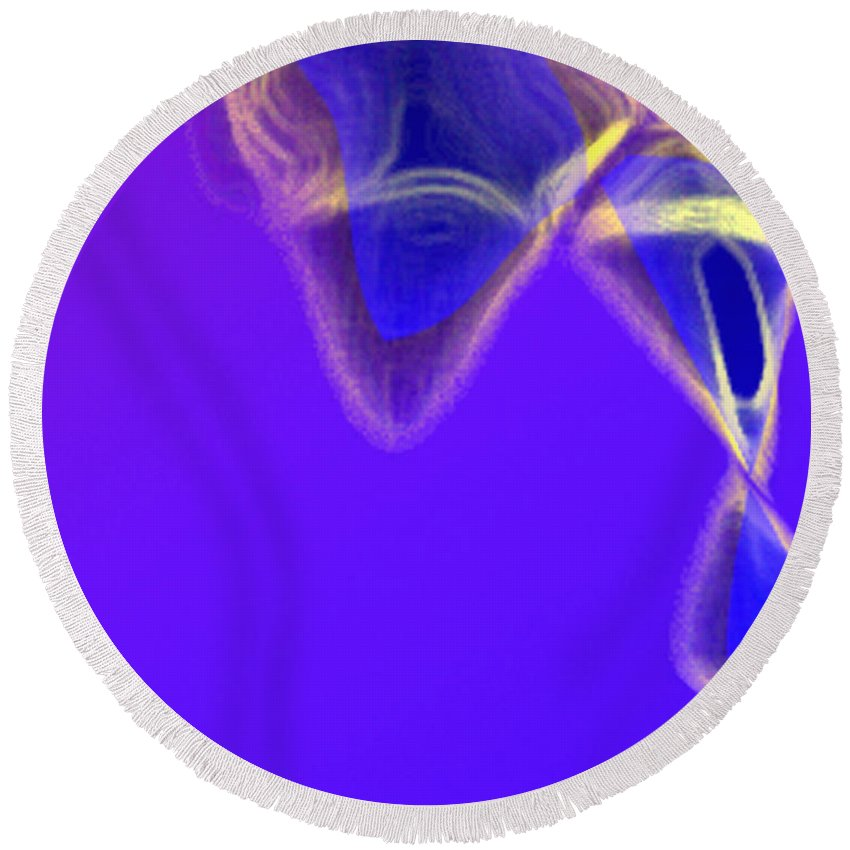 Abstract Round Beach Towel featuring the digital art Panel One From Movement In Blue by Steve Karol