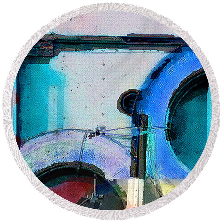 Abstract Round Beach Towel featuring the photograph panel three from Centrifuge by Steve Karol