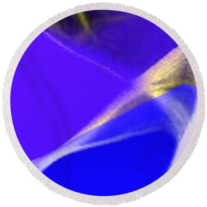 Abstract Round Beach Towel featuring the digital art panel three from Movement in Blue by Steve Karol