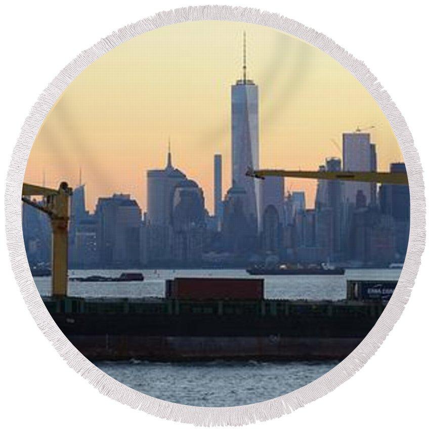 Skyline New York Round Beach Towel featuring the photograph Panorama New York City Skyline With Passing Container Ship by Merijn Van der Vliet