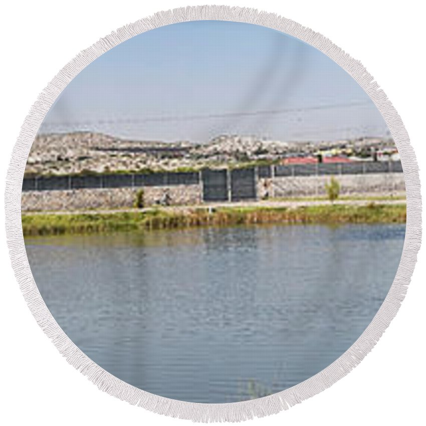 Pond Round Beach Towel featuring the photograph Panorama Of A Pond by Allen Sheffield