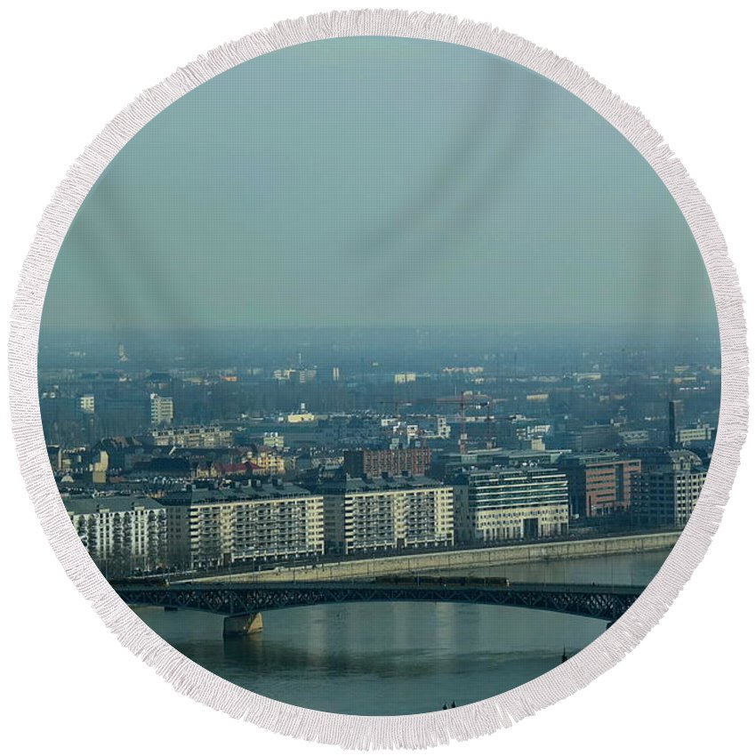 Panorama Round Beach Towel featuring the photograph Panorama Of Budapest by Explorer Lenses Photography