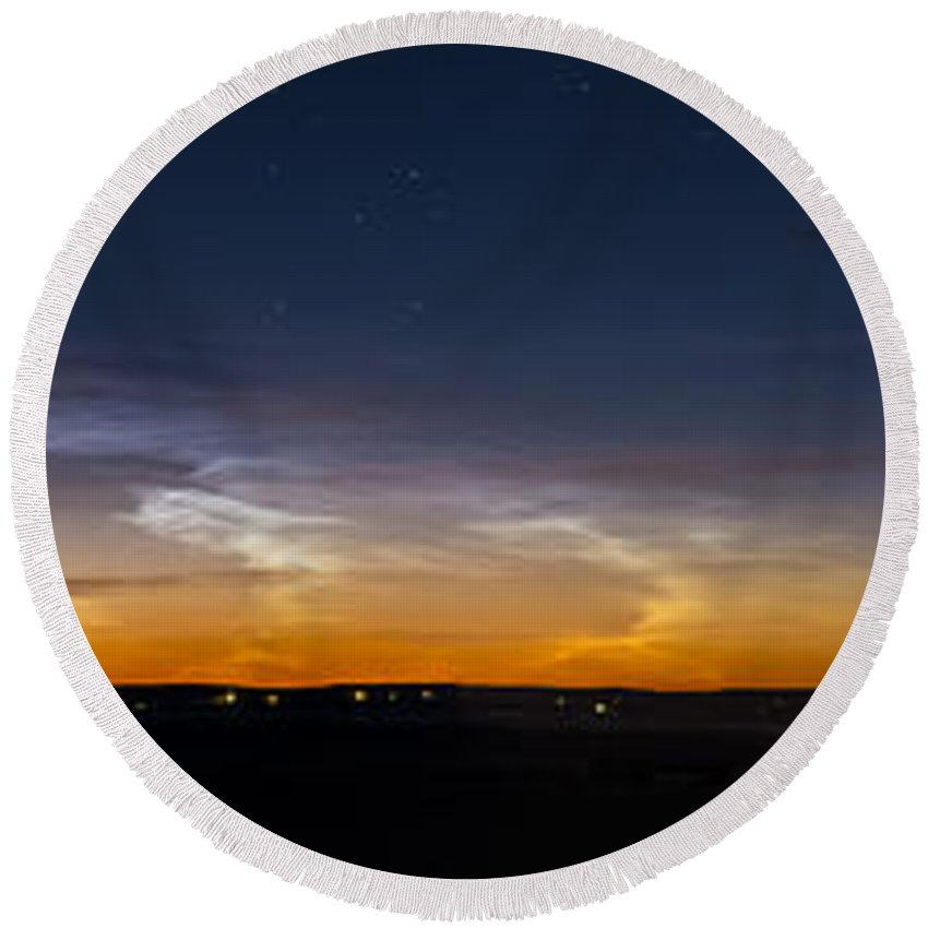 Alberta Round Beach Towel featuring the photograph Panorama Of Noctilucent Clouds by Alan Dyer
