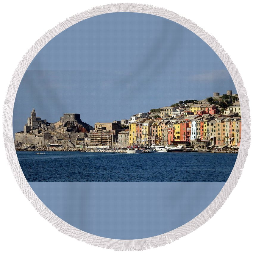 Portovenere Round Beach Towel featuring the photograph Panorama Of Portovenere by Carla Parris