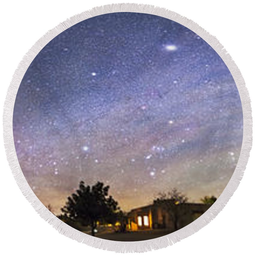 Aurora Round Beach Towel featuring the photograph Panorama Of The Celestial Night Sky by Alan Dyer