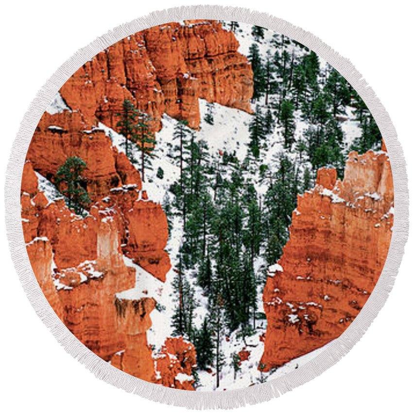 North America Round Beach Towel featuring the photograph Panorama Winter Storm Blankets Thors Hammer Bryce Canyon Utah by Dave Welling