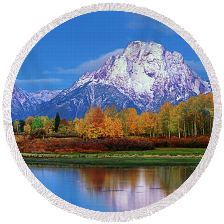 Dave Welling Round Beach Towel featuring the photograph Panoramic Autumn Morning Oxbow Bend Grand Tetons National Park by Dave Welling