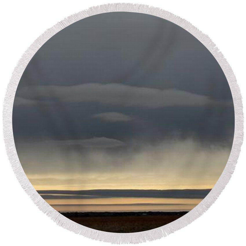Rain Round Beach Towel featuring the photograph Panoramic Flint Hills Rain by Weathered Wood
