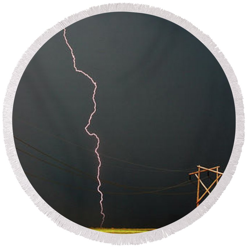 Round Beach Towel featuring the digital art Panoramic Lightning Storm And Power Poles by Mark Duffy