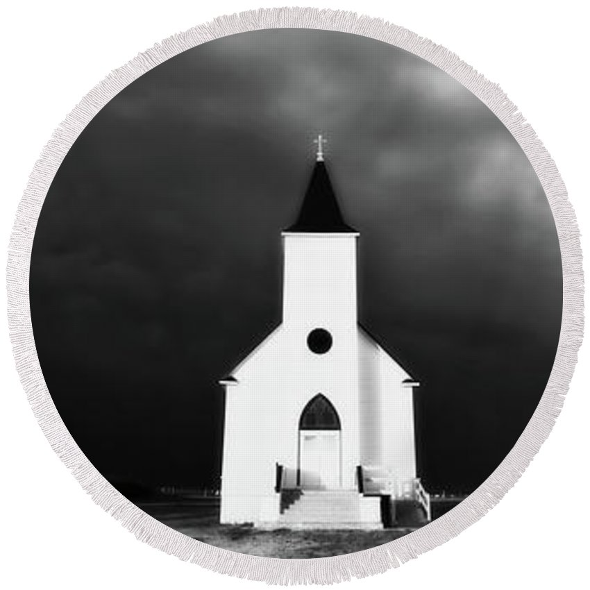 Round Beach Towel featuring the digital art Panoramic Lightning Storm And Prairie Church 2 by Mark Duffy