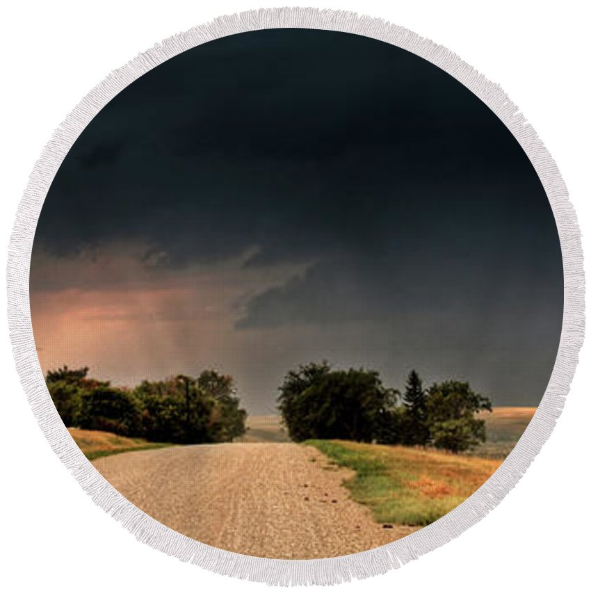 Round Beach Towel featuring the digital art Panoramic Lightning Storm In The Prairie by Mark Duffy