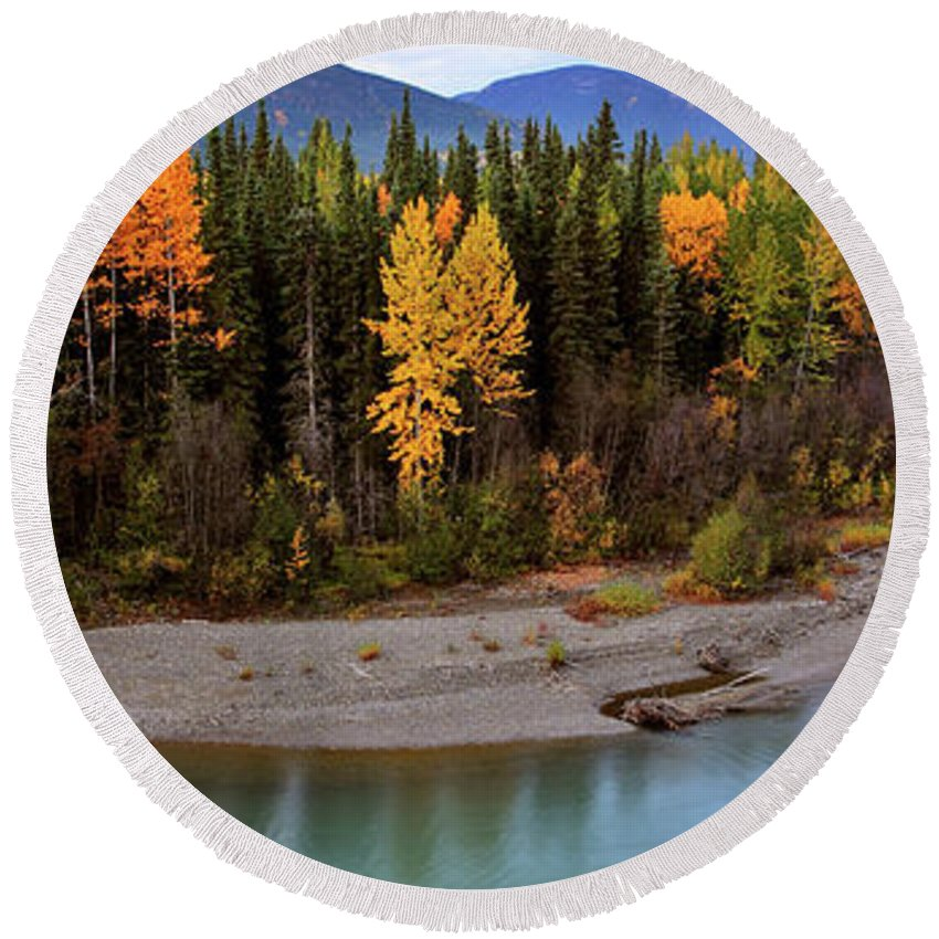 Round Beach Towel featuring the digital art Panoramic Northern River by Mark Duffy