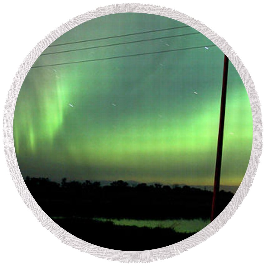 Round Beach Towel featuring the digital art Panoramic Prairie Northern Lights by Mark Duffy