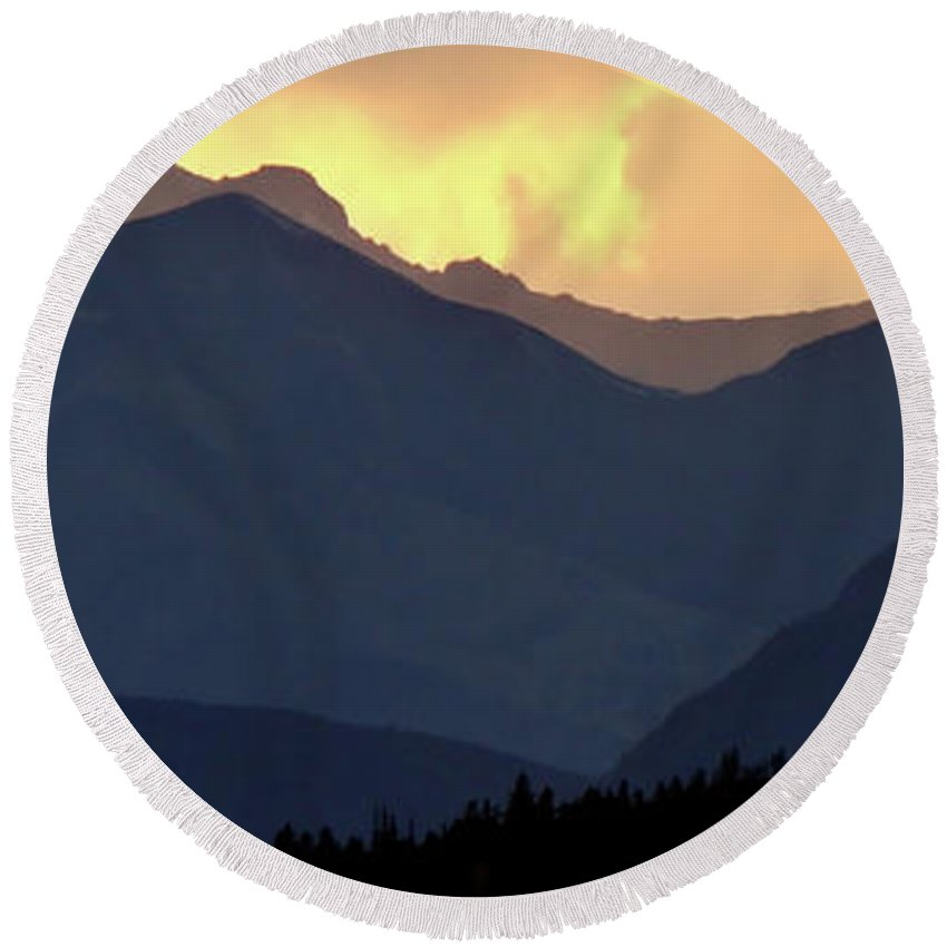 Round Beach Towel featuring the digital art Panoramic Rocky Mountain View At Sunset by Mark Duffy