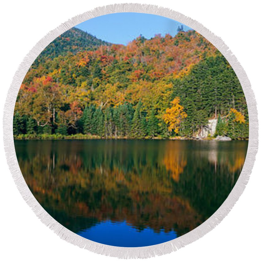Photography Round Beach Towel featuring the photograph Panoramic View Of Crawford Notch State by Panoramic Images