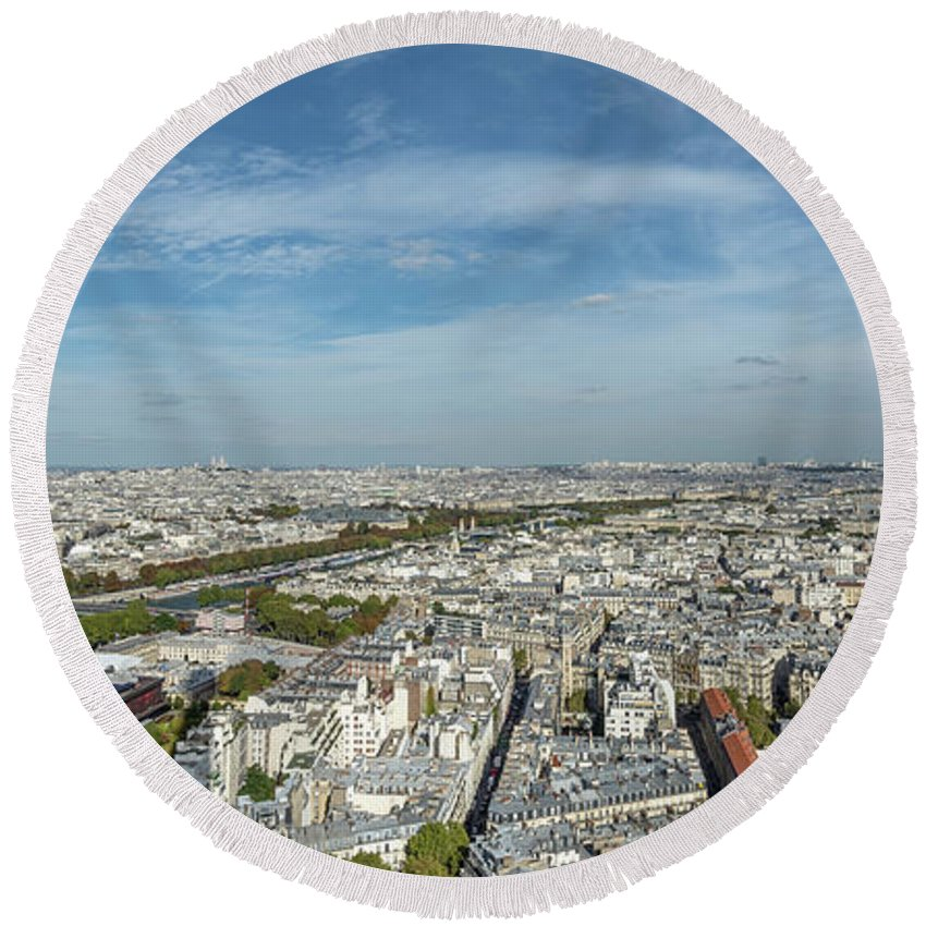 Color Photography Round Beach Towel featuring the photograph Panoramic View Of Paris From The Top Of The Tower by Sanchez PhotoArt