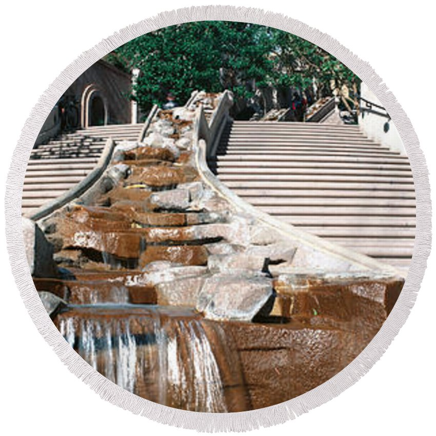 Photography Round Beach Towel featuring the photograph Panoramic View Of Stairs And Waterfall by Panoramic Images