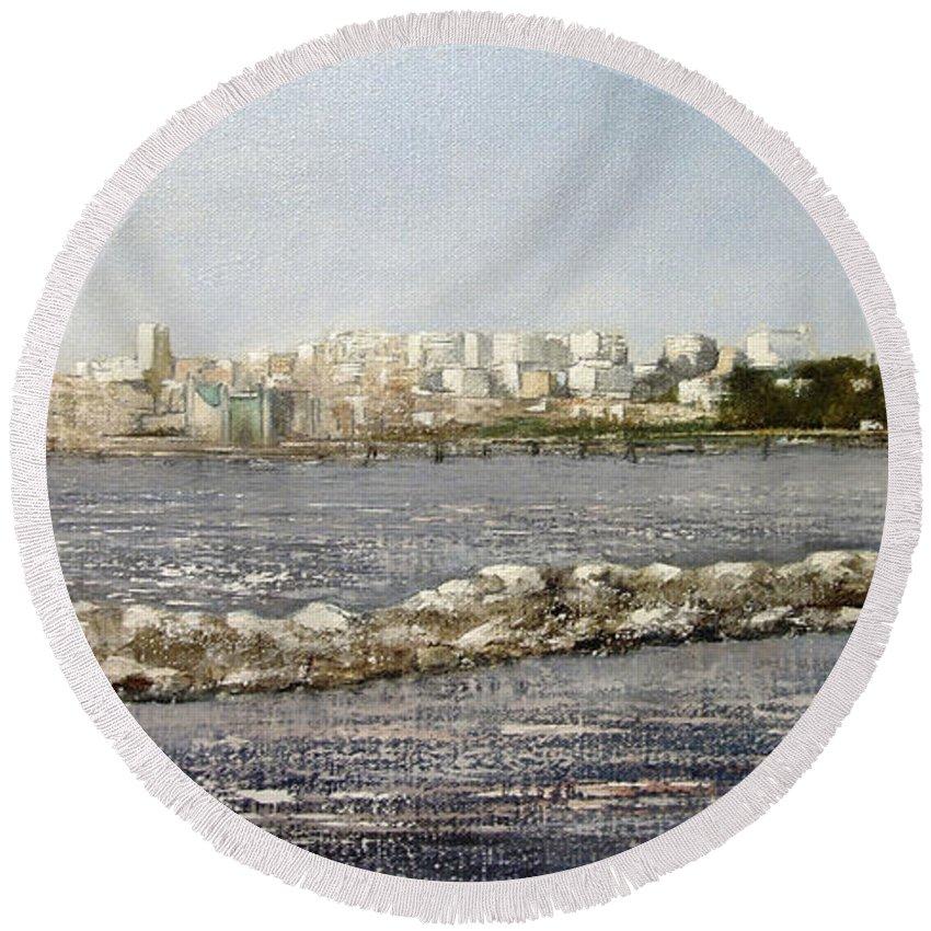 Santander Round Beach Towel featuring the painting Panoramica Santander desde Raos by Tomas Castano