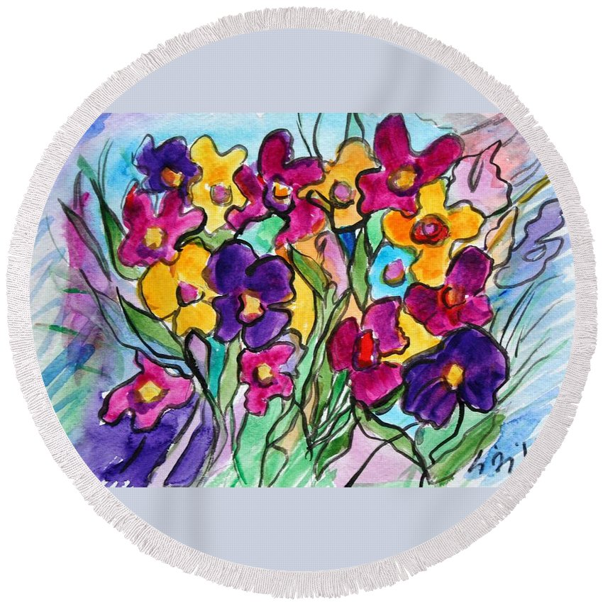 Flowers Round Beach Towel featuring the painting Pansies by Luiza Vizoli