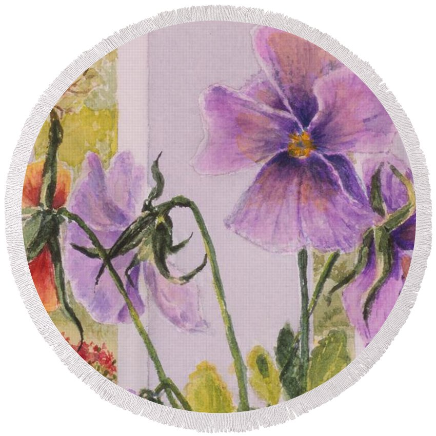 Florals Round Beach Towel featuring the painting Pansies On My Porch by Mary Ellen Mueller Legault